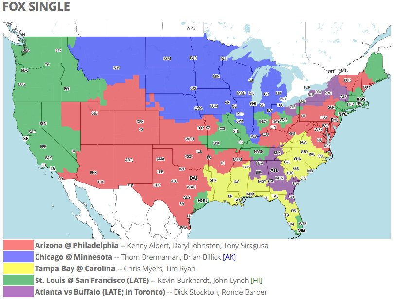 NFL Week 13 TV Schedule: NFL on FOX Viewing Map Guide